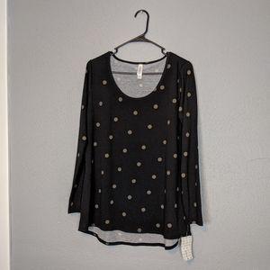 NWT LulaRoe Black Gold Polka-dots Lynnae Shirt